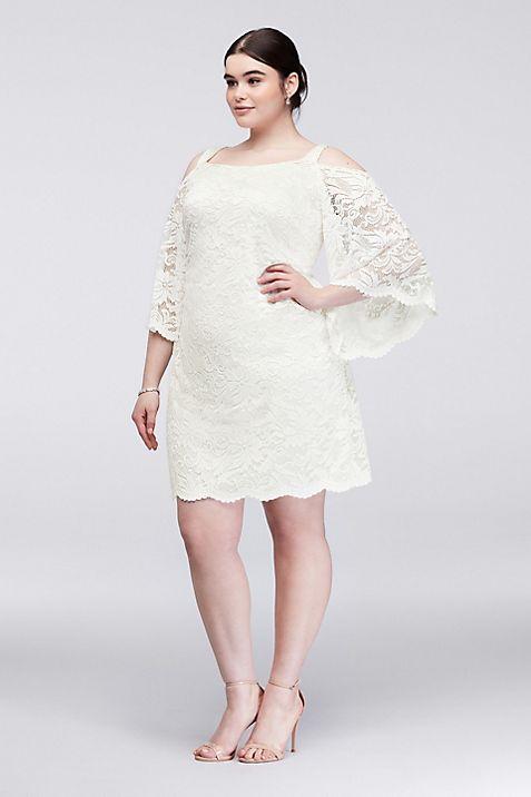 Cold Shoulder Lace Plus Size Sheath Dress Davids Bridal