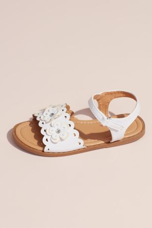 Rugged Bear Grey;White Sandals (Girls Flower Cutout Sandals)