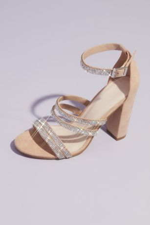 David's Bridal Beige Heeled Sandals (Sueded Block Heel Sandals with Crystal Straps)
