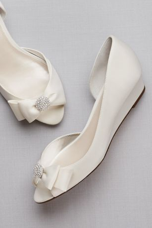 "David's Bridal Grey;Ivory Wedges (Bow-Embellished Satin D""Orsay Wedges)"