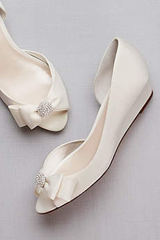 David's Bridal Grey Peep Toe Shoes (Bow-Embellished Satin D'Orsay Wedges)