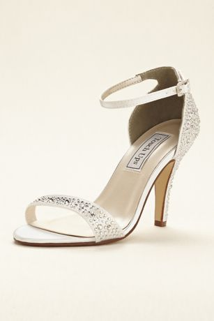Touch Ups Black;Blue;Grey;Ivory;Pink;Purple;Red;White Heeled Sandals (Dyeable Crystal Embellished Sandal by Touch Ups)