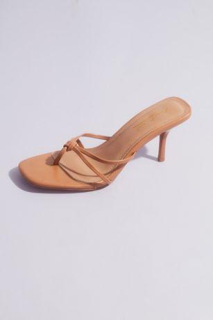 Anne Michelle Beige;White Heeled Sandals (Double Strap Thong Kitten Heel Sandals)