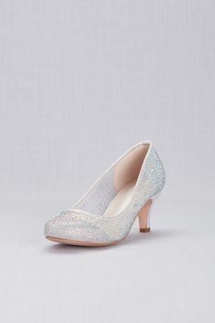 David's Bridal Grey Pumps (Round-Toe Low-Heel Crystal Pumps)