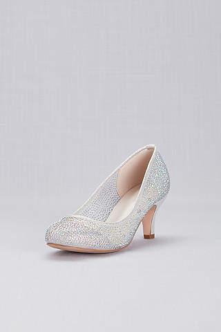 Wedding dress accessories bridal accessories davids bridal round toe low heel crystal pumps junglespirit Choice Image