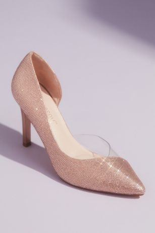 Blossom Grey;Pink Pumps (Tonal Crystal Pointed Toe Heels with Clear Detail)