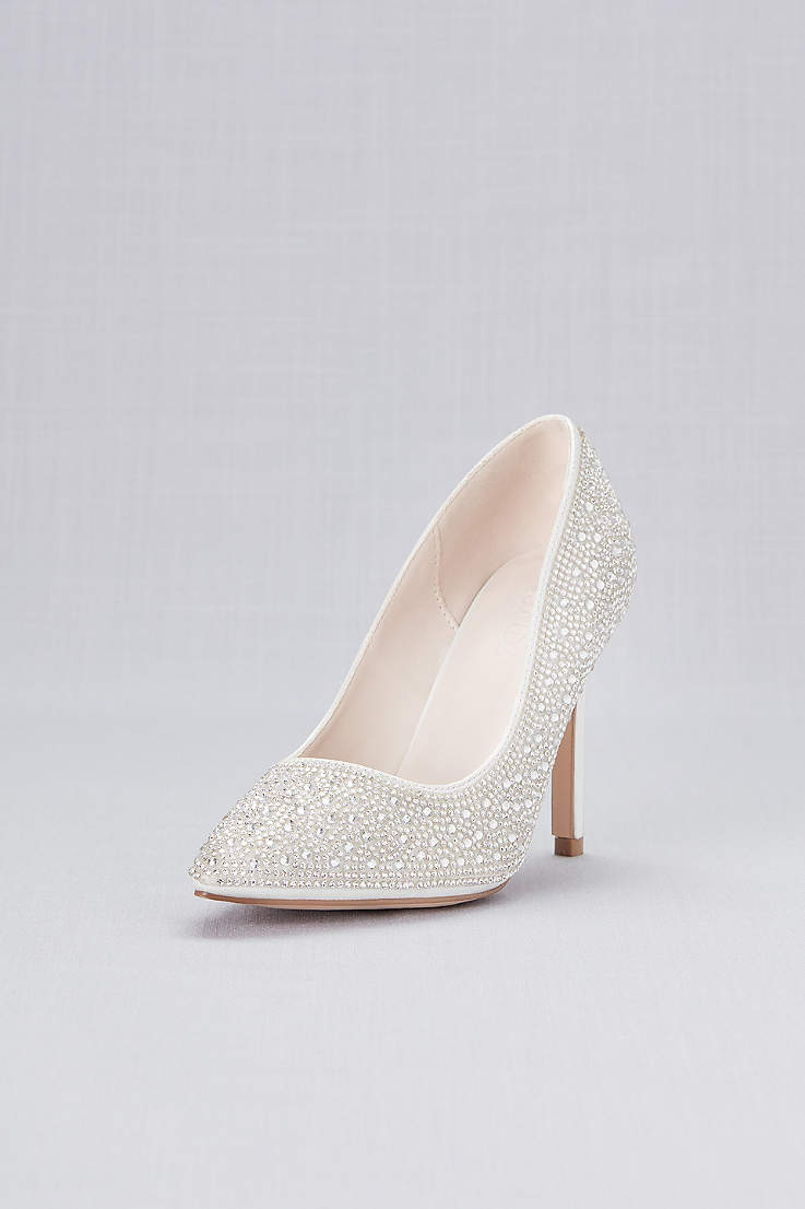 White Closed Toe Shoes Crystal Detailed Satin Pointed Pumps