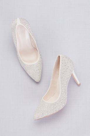 White Closed Toe Shoes (Crystal Detailed Satin Pointed-Toe Pumps)