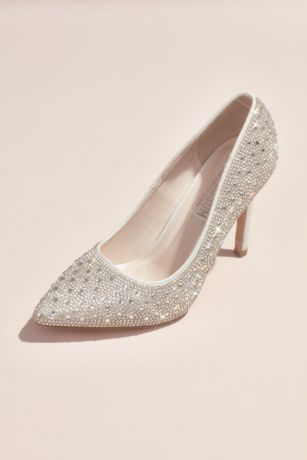 David's Bridal White Pumps (Crystal Detailed Satin Pointed-Toe Pumps)