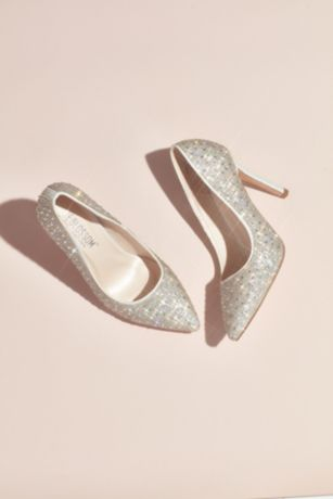 White Pumps (Crystal Detailed Satin Pointed-Toe Pumps)