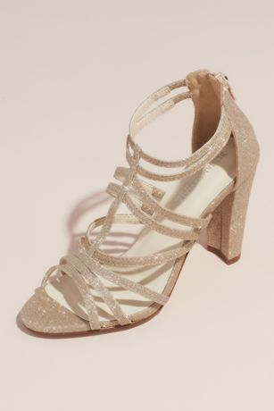 Touch Ups Grey;Ivory Heeled Sandals (Strappy High-Heeled Glittery Gladiator Sandals)