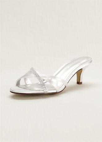 David's Bridal White Heeled Sandals (Embellished Dyeable Low Heel Sandal)
