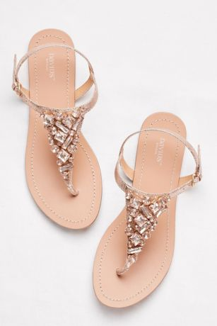 David's Bridal Pink Flat Sandals (Jeweled Metallic Ankle-Strap Thong Sandals)