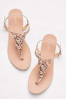 Davids Bridal Pink Sandals Jeweled Metallic Ankle Strap Thong Sandals