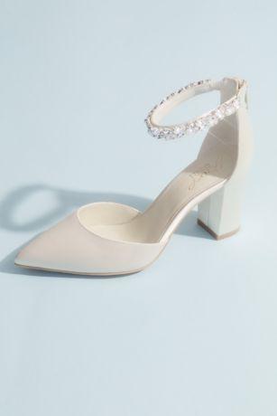 Jewel Badgley Mischka Ivory Pumps (Pointed Toe Satin Block Heels with Crystal Strap)
