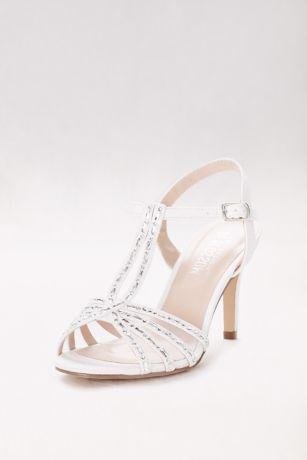 Blossom Beige;Grey;White (Crystal-Embellished Mesh Double T-Strap Heels)