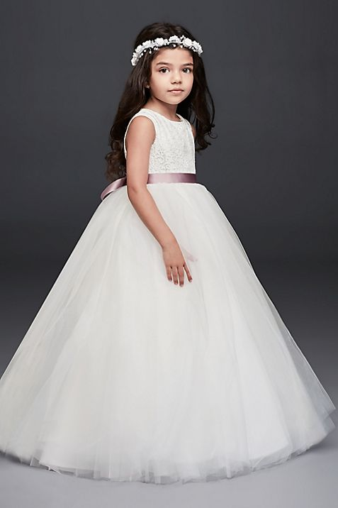 Ball Gown Flower Girl Dress with Heart Cutout | David\'s Bridal