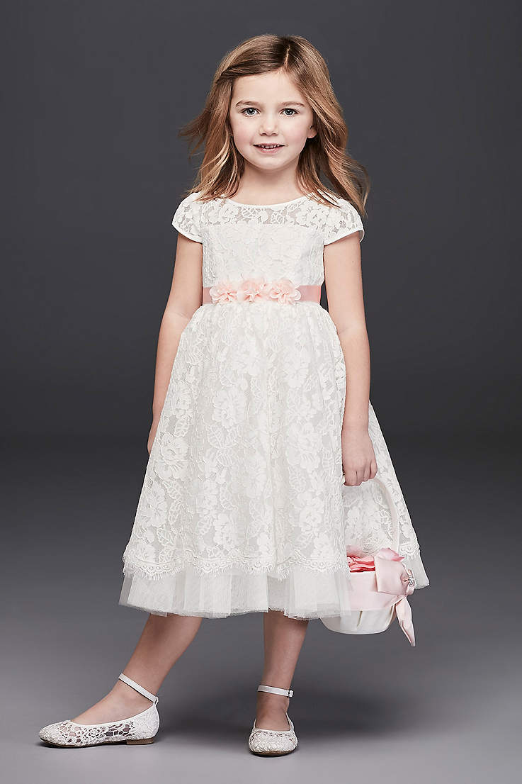 Flower girl dresses in various colors styles davids bridal tea length ballgown cap sleeves dress davids bridal mightylinksfo