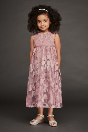 Metallic Embroidered Tulle Flower Girl Dress