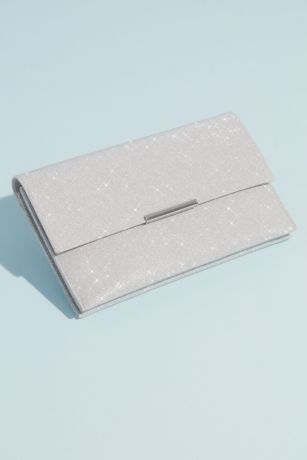 Fold Over Glittery Clutch with Removable Chain