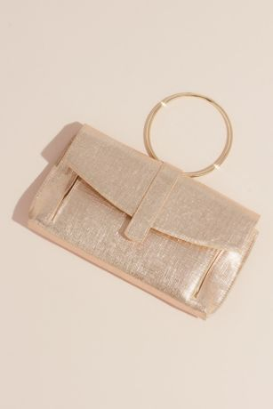Coated Tweed Foldover Clutch with Ring Handle