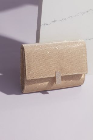 Glitter Knit Fold Clutch with Pave Crystal Clasp