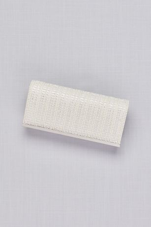 Pearl and Crystal Stripe Satin Clutch