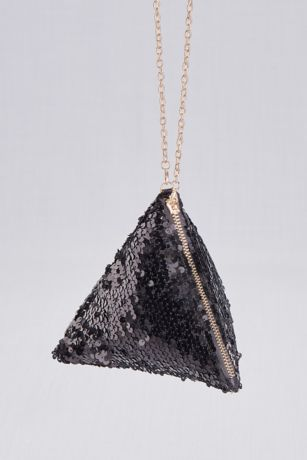 Sequined Pyramid Purse with Metallic Accents