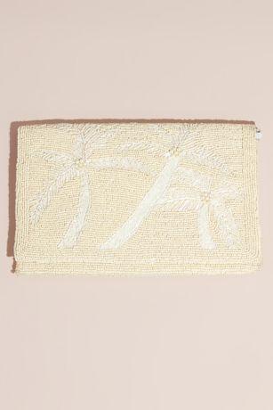 Beaded Palm Tree Envelope Clutch