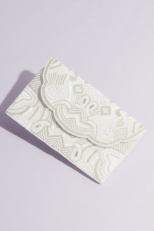 Allover Beaded Envelope Clutch with Scalloped Edge