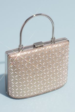 Metallic Crystal Hatch Bracelet Handle Handbag