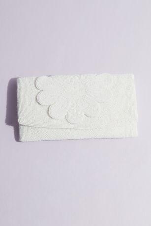 Allover Beaded Floral Flap Envelope Clutch