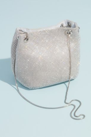 Crystal Embellished Mesh Chain Strap Bucket Bag