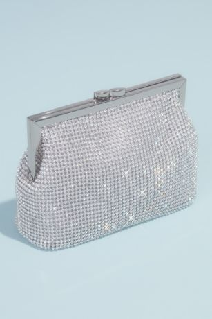 Linked Crystal Pouch Clutch with Metal Frame