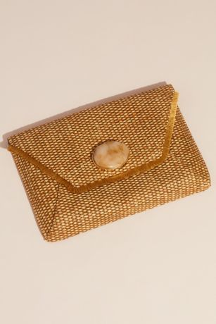Fringed Raffia Envelope Clutch with Gem Clasp