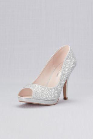 Blossom Black;Grey (Crystal Peep Toe Mid-Heel Platform Pumps)