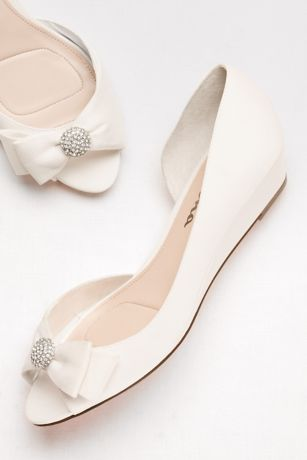 """Touch of Nina Blue;Grey;Ivory;Pink (Satin D""""Orsay Wedges with Embellished Bow)"""