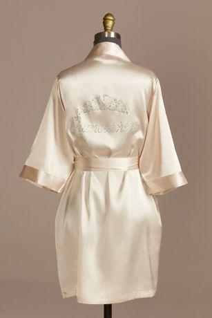 Rhinestone Tiara-Print Satin Quinceanera Robe