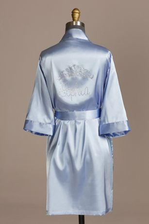 Personalized Satin Quinceanera Robe with Tiara