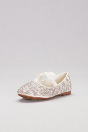 David's Bridal White Flowergirl Shoes (Girls Crystal Ballet Flats with Ribbon Bow)