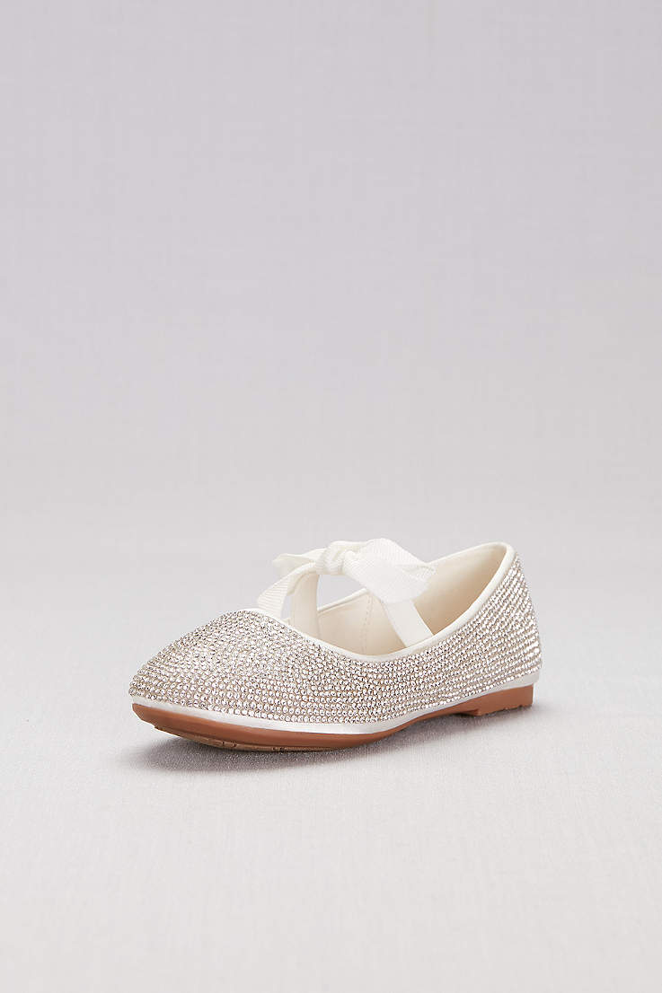 75a652712264 David s Bridal White Yellow Flowergirl Shoes (Girls Crystal Ballet Flats  with Ribbon Bow)