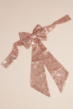 Allover Sequin Flower Girl Sash with Back Bow