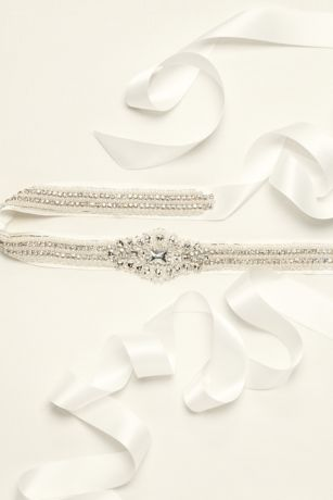 Satin Sash with Pearl and Crystal Embellishments