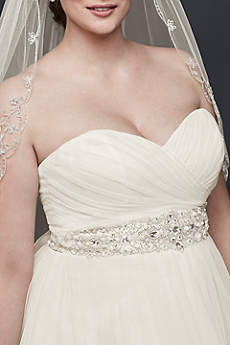 Rhinestone Beaded Satin Sash Davids Bridal