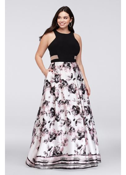 Illusion Cutout Printed Charmeuse Plus Size Gown | David\'s Bridal