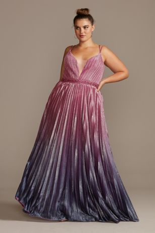 Pleated Ombre Plus Size Gown with Plunge Illusion