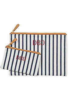 Personalized Striped Cosmetic Bag Set