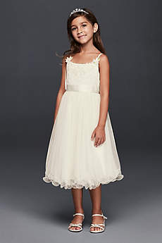 Curly Tulle Flower Girl Dress with Rosettes