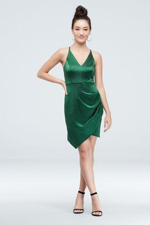 Satin Strappy V-Neck Dress with Tulip Skirt