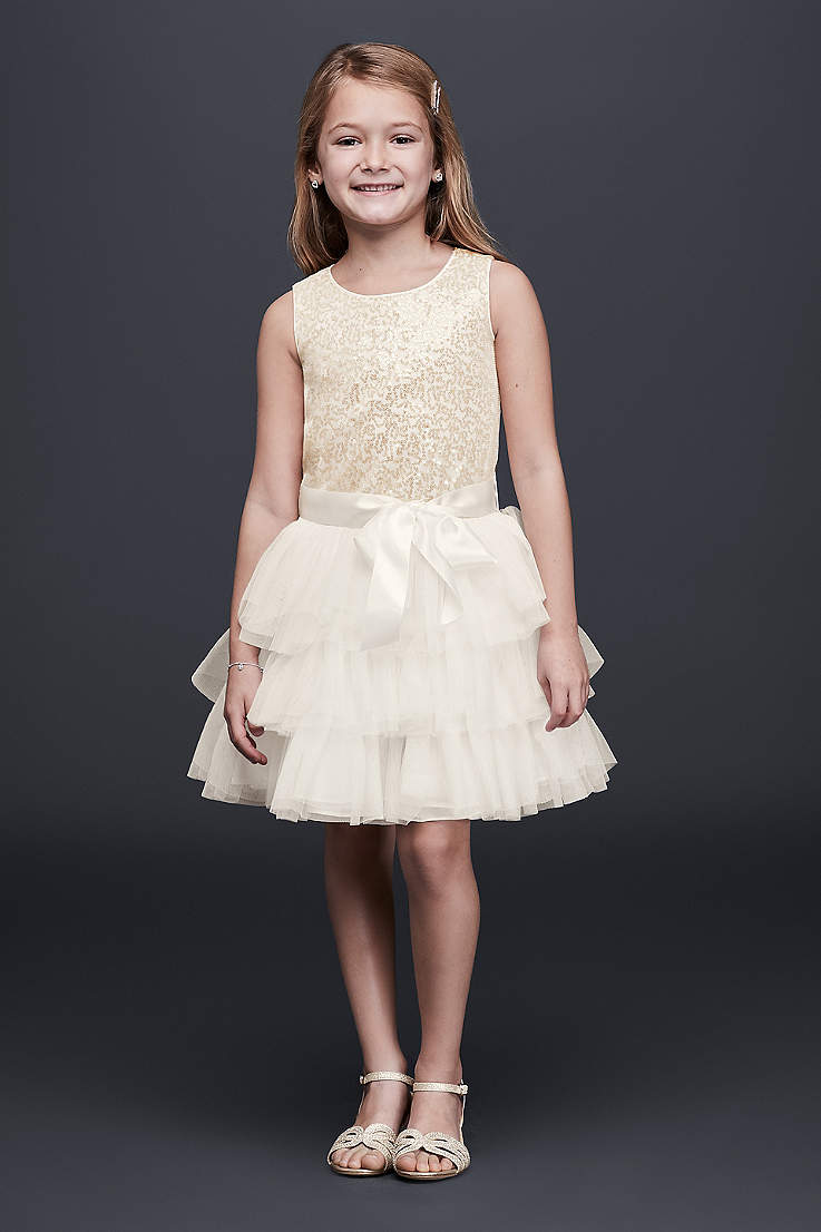 d47d92af043 Tiered Tulle Flower Girl Dress with Sequin Bodice